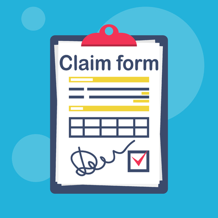 Insurance claim form with a check mark and a signature. Vector illustration flat design. Isolated on white background. Official document. Clipboard with sheets.