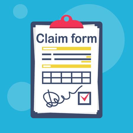 Modulo di richiesta di assicurazione con un segno di spunta e una firma. Design piatto di illustrazione vettoriale. Isolato su sfondo bianco. Documento ufficiale. Appunti con fogli.