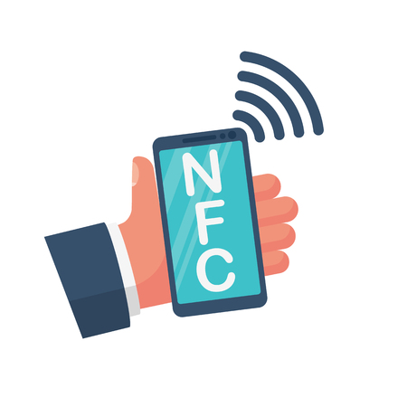 NFC icon. Payment with smartphone. Mobile payment icon icon for apps and websites. Phone in hand. Vector illustration flat design. Isolated on white background. Contactless purchase. Иллюстрация