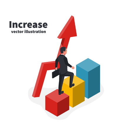 Businessman goes up colored bar. Business growing concept. Graph to success. Man goes step by step. Vector illustration isometric 3d design. Man in a suit with a suitcase. Up arrow.