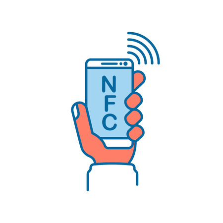 NFC line icon. Payment with smartphone. Mobile payment icon icon for apps and websites. Phone in hand. Vector illustration flat design. Isolated on white background. Contactless purchase.