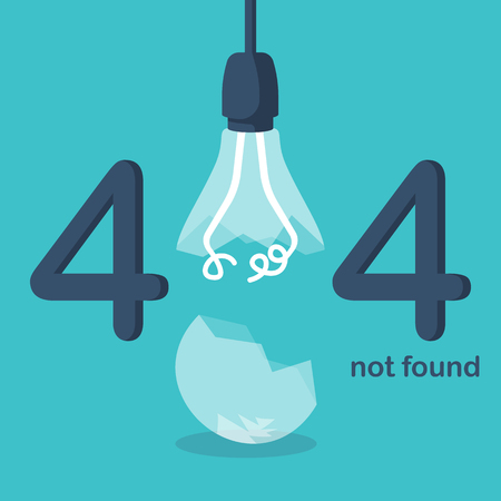 404 Error, page not found. Connection error. Broken lamp isolated on white background. Cracked glass. Break lightbulb. Vector illustration flat design.