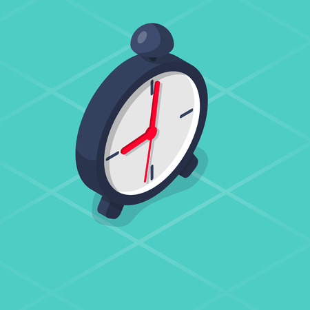 Alarm clock isometric icon. Vector illustration 3d design. Isolated on white background. Stopwatch deadline. Isolated on background.