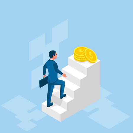 Businessman in suit hold briefcase walking on stair to money. Step by step on the ladder to success. Vector illustration isometric design. Isolated on white background.