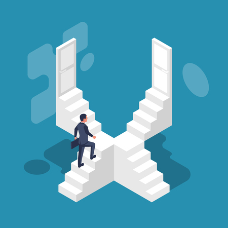 Direction way concept. Choice of a businessman. Which path to choose. Lots of stairs and doors. Unknown to come. Decision business metaphor. Vector isometric style design. Isolated on background.