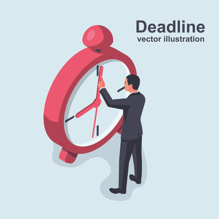 Deadline isometric concept. Stop time concept. Business metaphor. Vector illustration 3d design. Isolated on white background. Businessman in suit stops arrow clock. Time management. Planning deadline