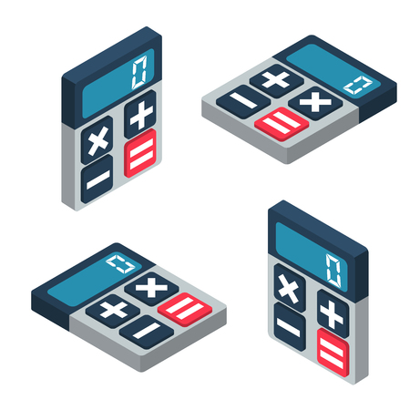 Isometric calculator set. Vector illustration 3D design. Isolated on white background. Object for web and infographics. Finance computer. Calculator with screen and keys.