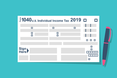 Individual Tax Return Forms with pen Illustration
