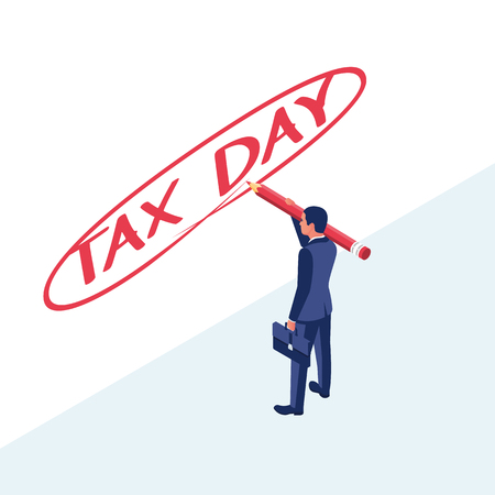 Tax day. Man filling US tax form. Business income. Vector illustration flat design. Isolated on white background.
