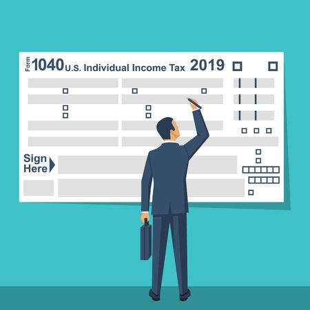 Businessman Fills US Tax Form