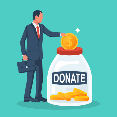 Businessman throws gold coin in a box for donations. Golden coin in hand. Donate, giving money. Vector illustration, flat style design. Isolated on background. Vecteurs