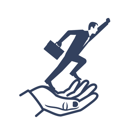 Silhouette businessman flying out of hand goes up. Give freedom, opportunity. Business concept. Successful people, moving forward. Vector flat design. Isolated on background. Help in startup. Иллюстрация