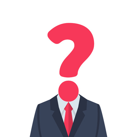 Businessman with question mark instead of head. Human in front of whom the big problems and solution issues. Vector illustration flat design. Isolated on white background.