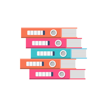 Empilez les dossiers. Documents de bureau colorés. Reliures papier