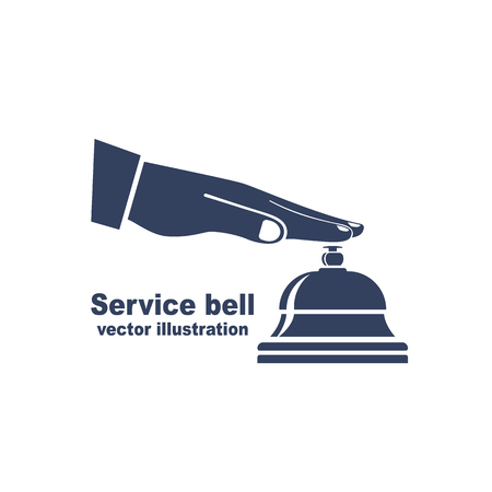 Silhouette male hand pressing service bell. Icon service bell, flat design style. Vector illustration. Customer at reception presses the call button. Black pictogram bell hotel.  イラスト・ベクター素材