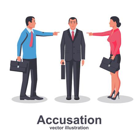 Concetto di accusa. Il team di dipendenti punta il dito contro la persona colpevole. Uomo e donna in giacca e cravatta. Design piatto di illustrazione vettoriale. Isolato su sfondo bianco. Colleghi di molestie. Operaio vittima Vettoriali