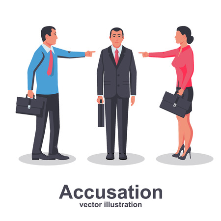 Accusation concept. Team of employees point finger at guilty person. Man and woman in business suits. Vector illustration flat design. Isolated on white background. Harassment coworkers. Victim worker