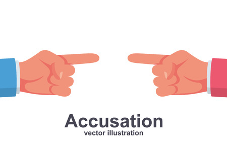 Accusation concept. Two people in a dispute point at each other with their fingers. Vector illustration flat design. Isolated on white background. Harassment coworkers. Victim worker. Illustration