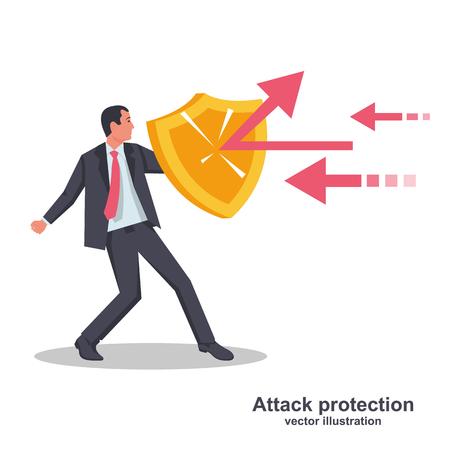 Protección contra ataques. El empresario sostiene un escudo que defiende de los ataques. Impacto de reflexión. Diseño plano de ilustración vectorial. Aislado sobre fondo blanco. Serie de empresarios exitosos.