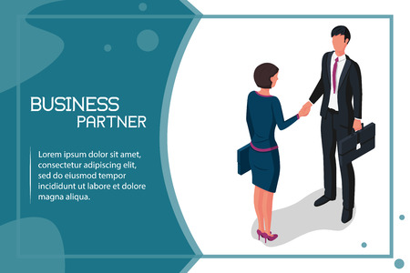 Handshake man and women. Meet business partners, stylish man in suit, woman. Business people male and businesswomen. Vector illustration isometric style. Template design. Symbol of successful deal.