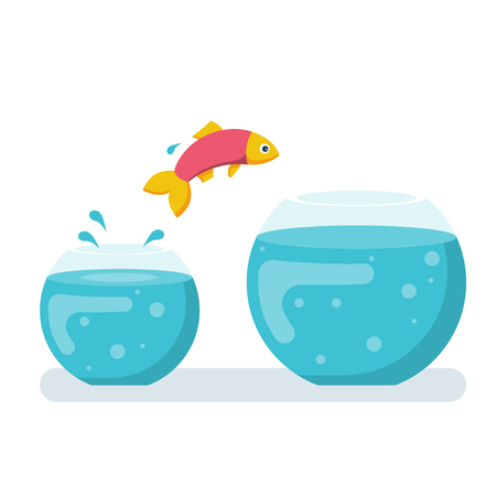 Potential fish jumping to biger fishbowl. Creative solution. Innovation way. Fish jumping out from small aquarium. Vector illustration flat design. Isolated white background. Highest level, new stage. Ilustração