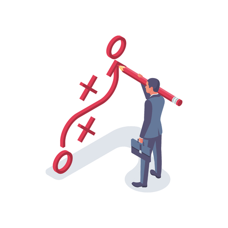 Businessman with big pencil has planned strategy. Business tactic. Businessman standing about clipboard showing scheme. Vector illustration isometric design 3d style. Presentation plan to achieve goal
