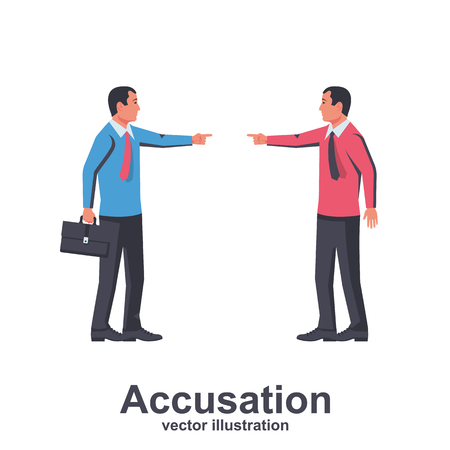 Accusation concept. Two businessmans in a dispute point at each other with their fingers. Vector illustration flat design. Isolated on white background. Harassment coworkers. Victim worker.