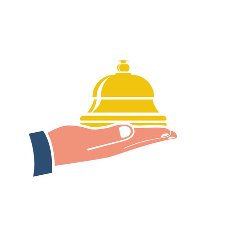 Silhouette bell icon holding in hand. Bell on reception for the hotel and hospital. Service object isolated on white background. Vector illustration flat design.
