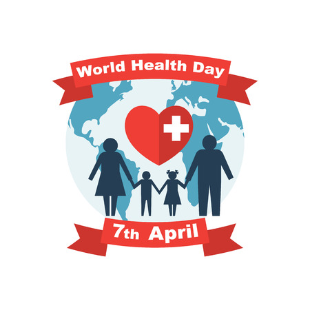 World Health Day 7th April. Global and family. Planet and heart with cross as symbol of protection. Vector illustration flat design. Isolated on white background
