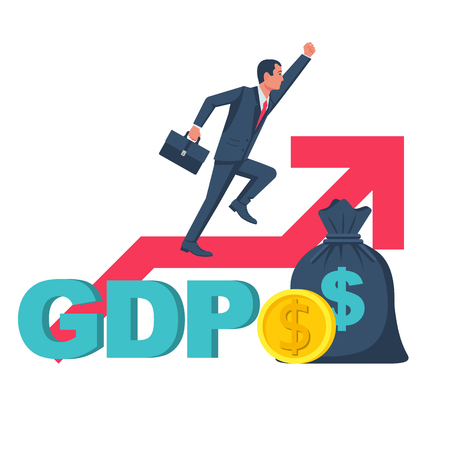 Growth GDP. Government budget, public spending. Businessman on arrow flies up. Dollar bag, coin gold. Increment in annual financial budget. Vector illustration flat design. Isolated white background.