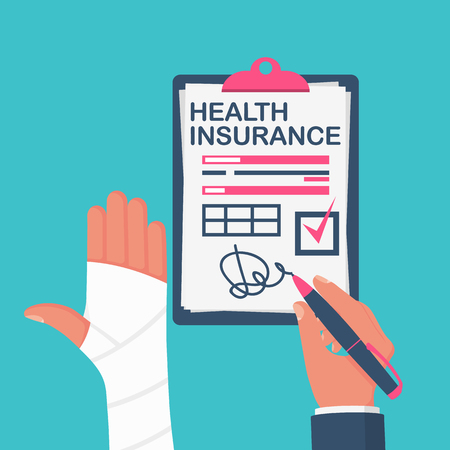 Health insurance claim form. Healthcare concept. Vector illustration flat design style. Life planning. Medical clipboard claim form with pencil. Protection document.