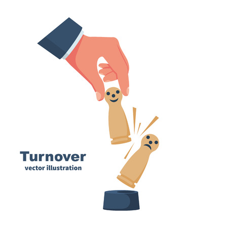 Replacing the wooden figure as symbol turnover. Firing an employee, replacement of staff. Businessman hold in hand wooden figure. Push from post. Replacement of staff. Vector illustration flat design.