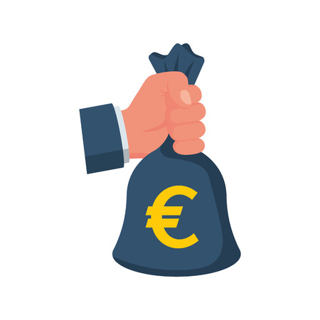 Hand holding money bag with euro. Bag with money. Big earnings. Earning money concept. Banking investment deposit. Vector illustration flat style. Isolated on white background.