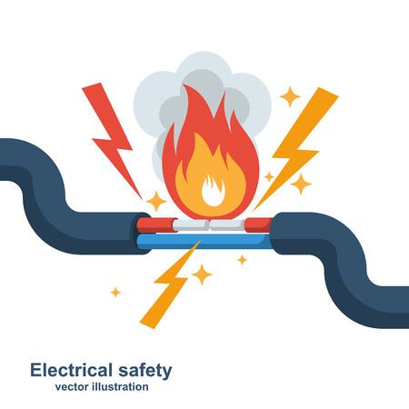 Draht brennt. Feuerverkabelung. Fehlerhaftes beschädigtes Kabel. Feuer durch Überlastung. Elektrisches Sicherheitskonzept. Flaches Design der Vektorillustration. Kurzschluss Stromkreis. Elektrische Verbindung unterbrochen. Vektorgrafik