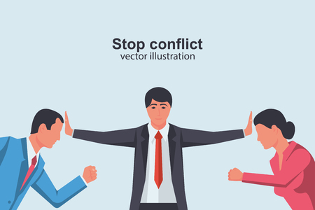 Stop conflict. Man and woman versus. Businessman referee finds compromise. Mediator solving competition. Conflict and solution. Vector illustration flat design. Isolated on white background.