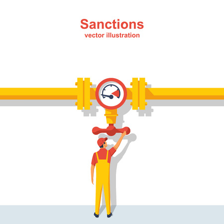 Gas sanctions. The governing body on the pipeline closes the valve. Illustration