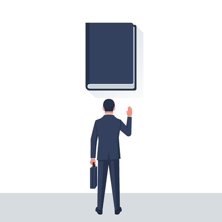 Businessman taking oath. An honest and reliable person takes an oath against the background of the Bible. Vector illustration flat design. Successful young man. Illustration