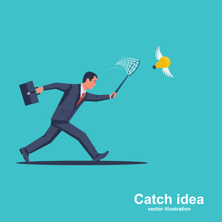 Businessman is trying to catch flying light bulb with scoop-net