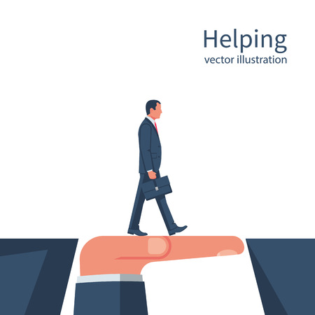 Business helping. Teamwork concept. Two businessmen solved the problem of overcoming the abyss. Vector illustration flat style design. Symbol of working together, cooperation, partnership.