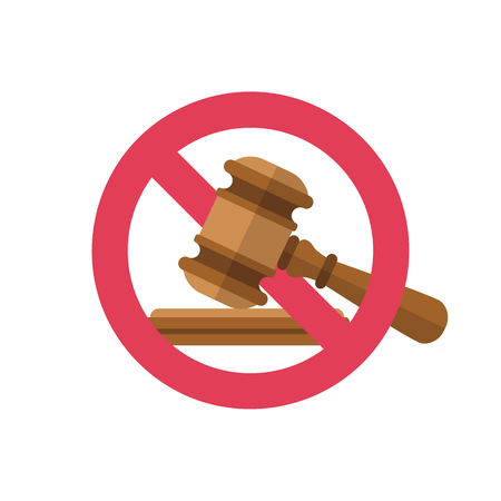 No to law. Stop sign vector red icon. Judge gavel icon. Auction hammer prohibited. Warning or no entry forbidden. Red symbol. Prohibition and restriction. Censorship. Vector illustration flat design. Stock Vector - 123581865