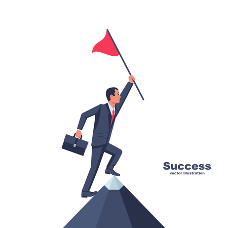 Businessman hold red flag on top of mountain Illustration