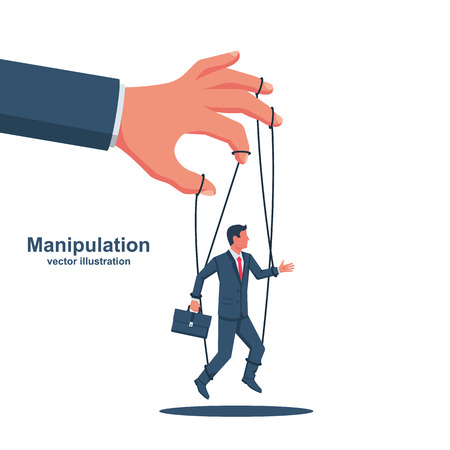 Manipulation concept. Worker on ropes. Abuse of power. Vector illustration flat cartoon. Hand of puppeteer holding a little businessman on a leash. Control workers. Иллюстрация