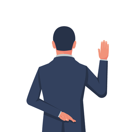Businessman taking oath. Dishonest politician. Hand in the oath is raised up. Lying and corruption. Hand with crossed fingers behind back. Vector illustration flat design.