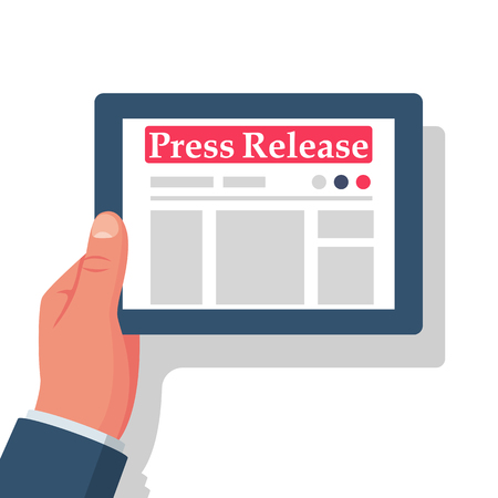 Press release concept. Tablet computer with news in hand. Vector illustration flat design. Isolated on white background. Place for announcement and advertising. Newspaper with news.