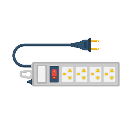 Cable de extensión eléctrico. Enchufe de toma de corriente. Regleta de energía eléctrica. Diseño plano de ilustración vectorial. Aislado sobre fondo blanco. Conexión y desconexión de electrodomésticos.