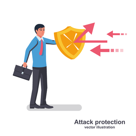 Businessman holds a shield defending from attacks. Attack protection. Reflection impact. Vector illustration flat design. Isolated on white background. Successful business people.