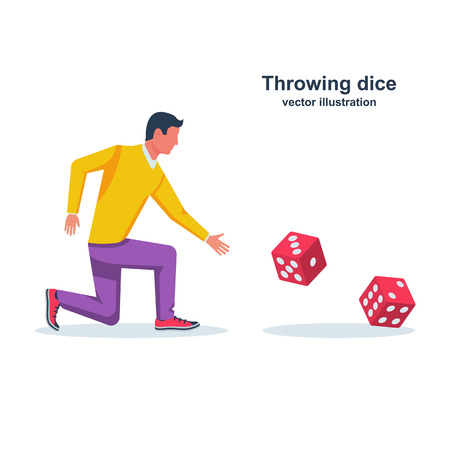 Man throws dice. Red dices on table. An avid person Vettoriali
