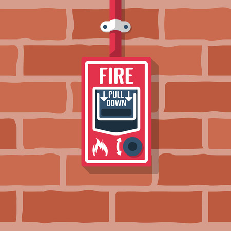 Fire alarm system install on the brick wall. Fire button. Red alarm equipment detector. Emergency siren. Vector illustration flat design. Isolated on background.