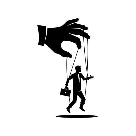 Manipulation concept black icon. Worker on ropes. Silhouette abuse of power. Vector illustration flat cartoon. Hand of puppeteer holding a little businessman on a leash. Control workers. Illustration