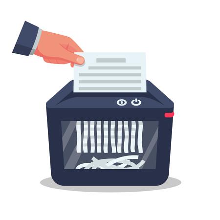 Document in hand for destruction. Shredder machine. Paper shredder. Cartoon style. Vector illustration flat design. Isolated on background. Information protection.